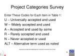project categories survey