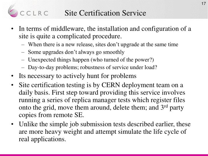 Site Certification Service
