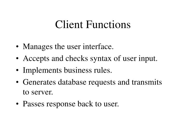 Client Functions