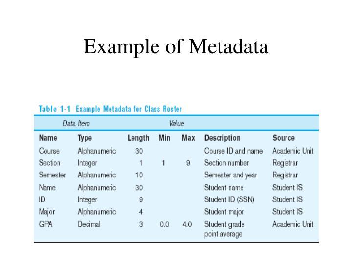 Example of Metadata