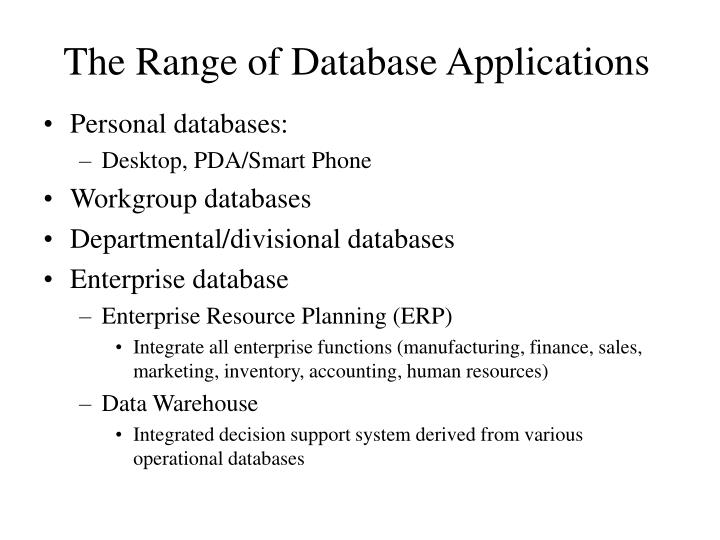 The Range of Database Applications
