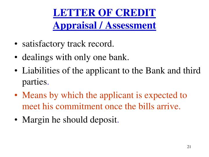 credit appraisal assessment from bankers