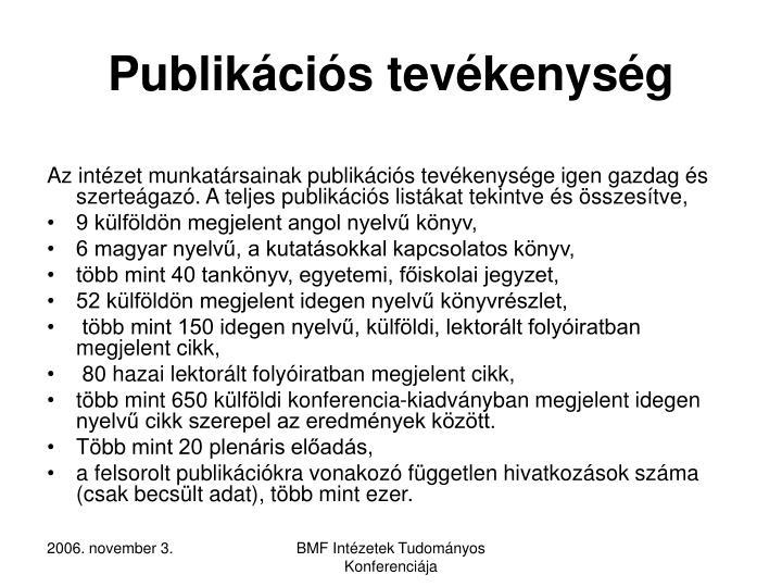 Publikációs tevékenység