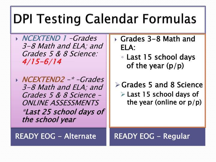 DPI Testing Calendar Formulas