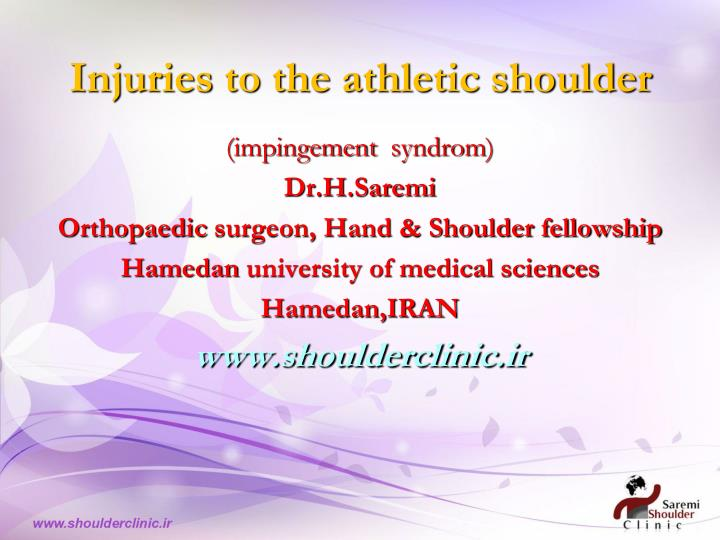 Injuries to the athletic shoulder