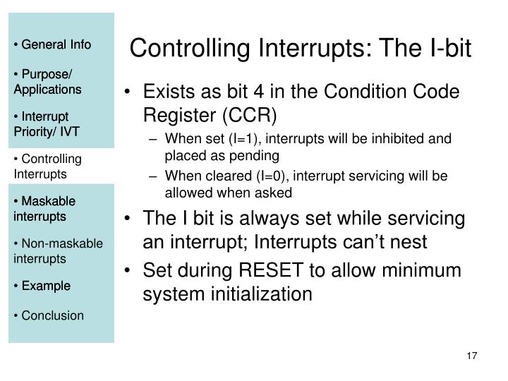 Controlling Interrupts: The I-bit
