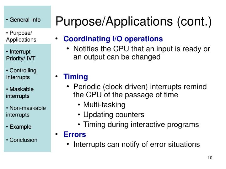 Purpose/Applications (cont.)