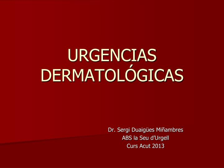 urgencias dermatol gicas n.