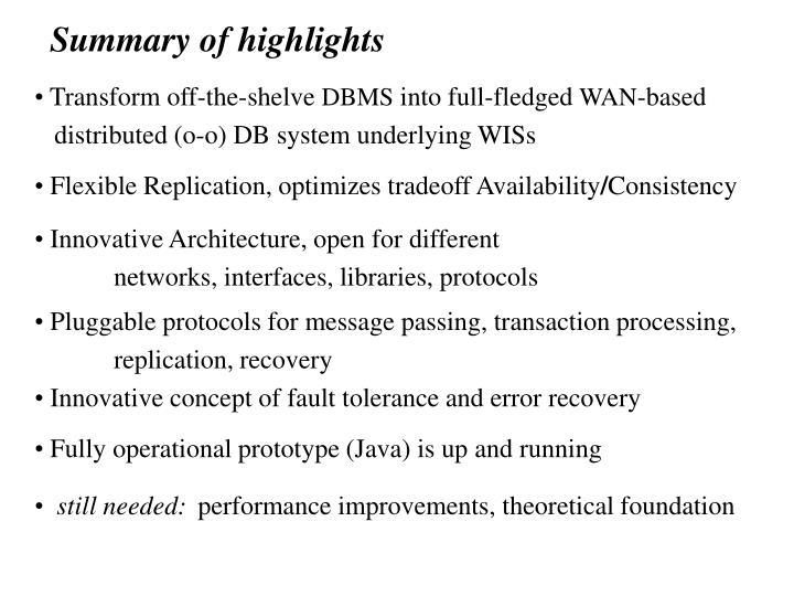 Summary of highlights