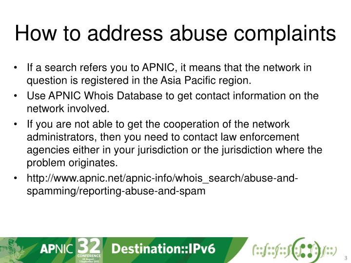 How to address abuse complaints