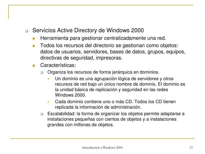 Servicios Active Directory de Windows 2000