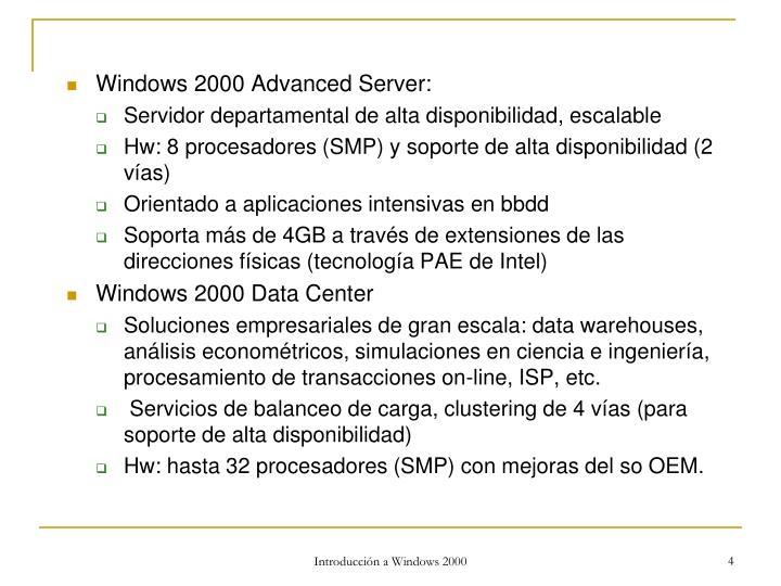 Windows 2000 Advanced Server: