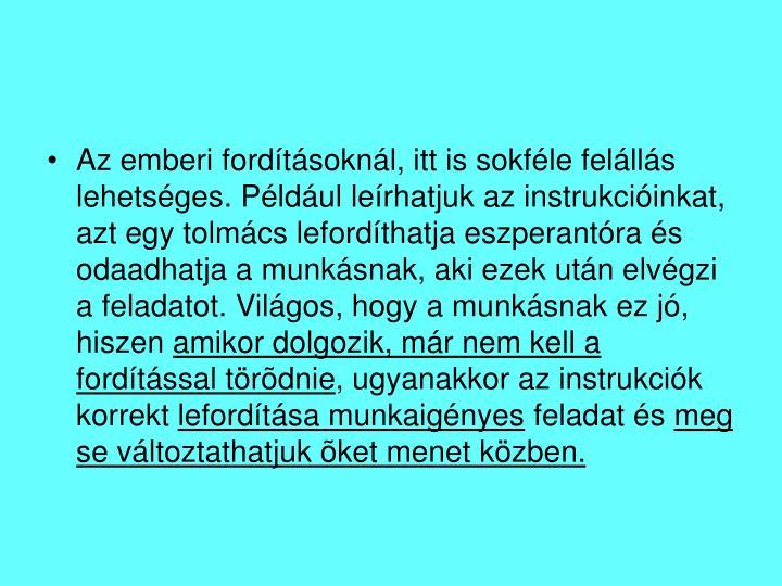 Az emberi fordításoknál, itt is sokféle felállás lehetséges. Például leírhatjuk az instrukcióinkat, azt egy tolmács lefordíthatja eszperantóra és odaadhatja a munkásnak, aki ezek után elvégzi a feladatot. Világos, hogy a munkásnak ez jó, hiszen