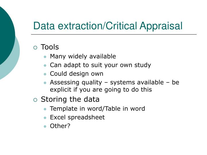 Data extraction/Critical Appraisal