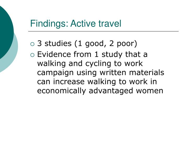 Findings: Active travel
