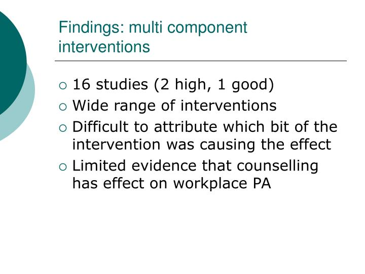 Findings: multi component interventions