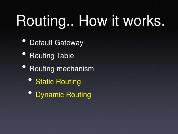 Routing how it works