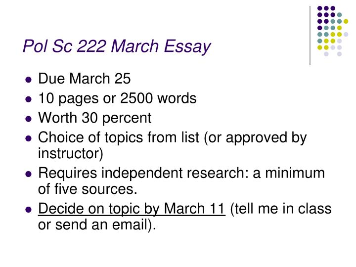 pol sc 222 march essay