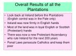 overall results of all the plantations