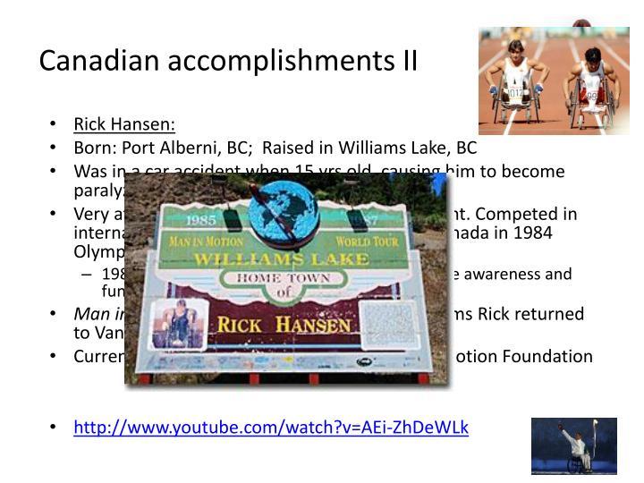 Canadian accomplishments II