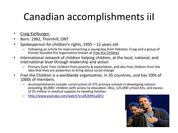 Canadian accomplishments