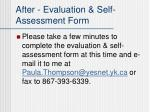 after evaluation self assessment form