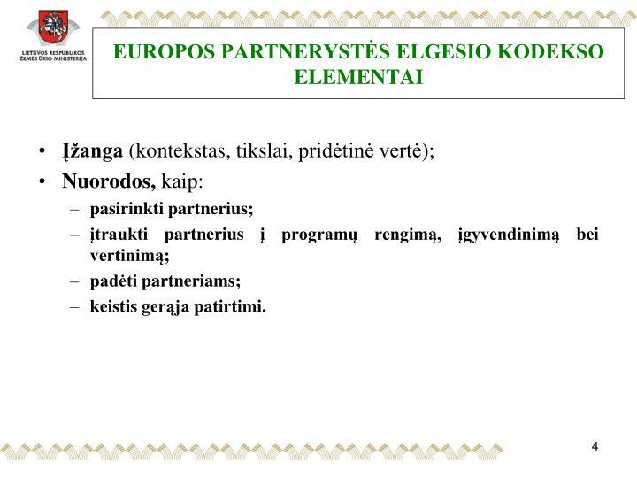 EUROPOS PARTNERYSTĖS ELGESIO KODEKSO ELEMENTAI
