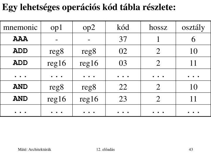 Egy lehetséges operációs kód tábla részlete: