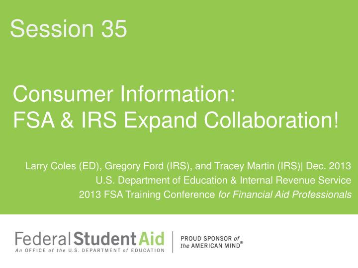 Consumer information fsa irs expand collaboration