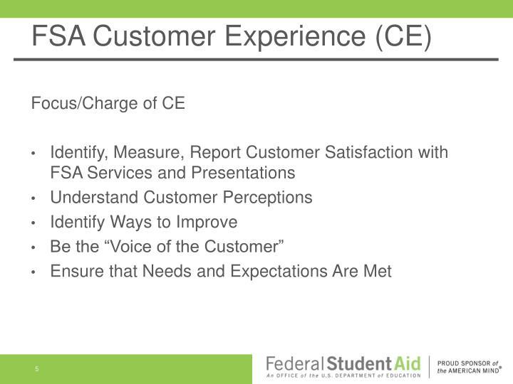 FSA Customer Experience (CE)