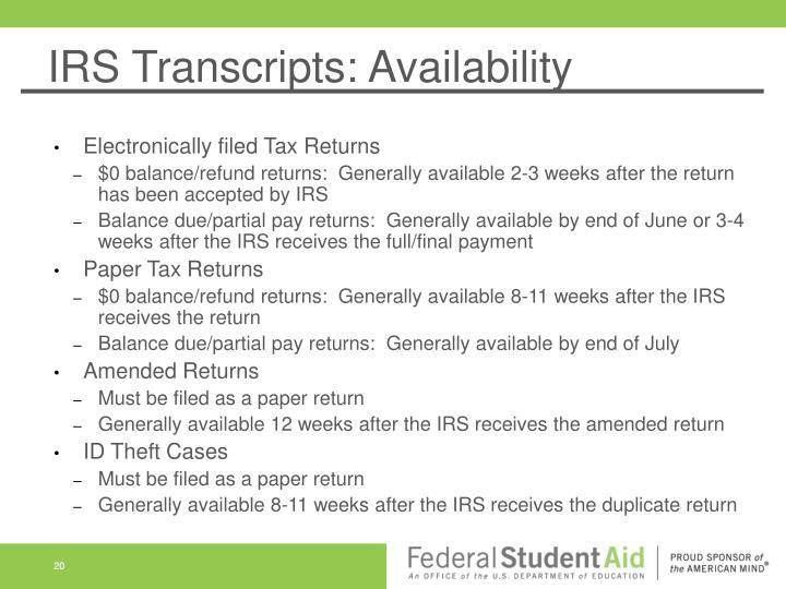 IRS Transcripts: Availability
