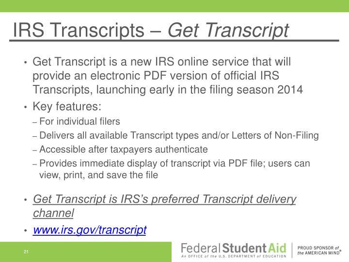 IRS Transcripts –