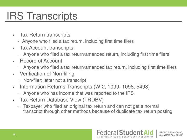 IRS Transcripts