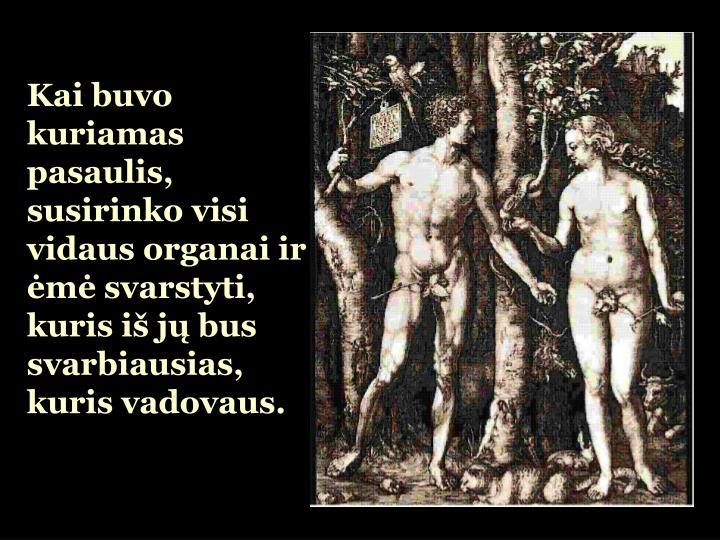 Kai buvo kuriamas pasaulis, susirinko visi vidaus organai ir ėmė svarstyti, kuris iš jų bus svar...