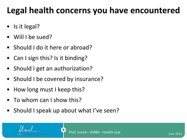 Legal health concerns you have encountered
