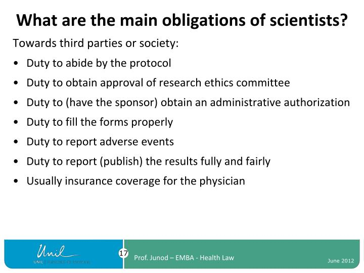 What are the main obligations of scientists?