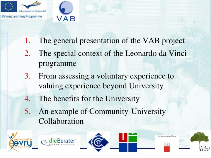 The general presentation of the VAB project