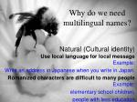 why do we need multilingual names