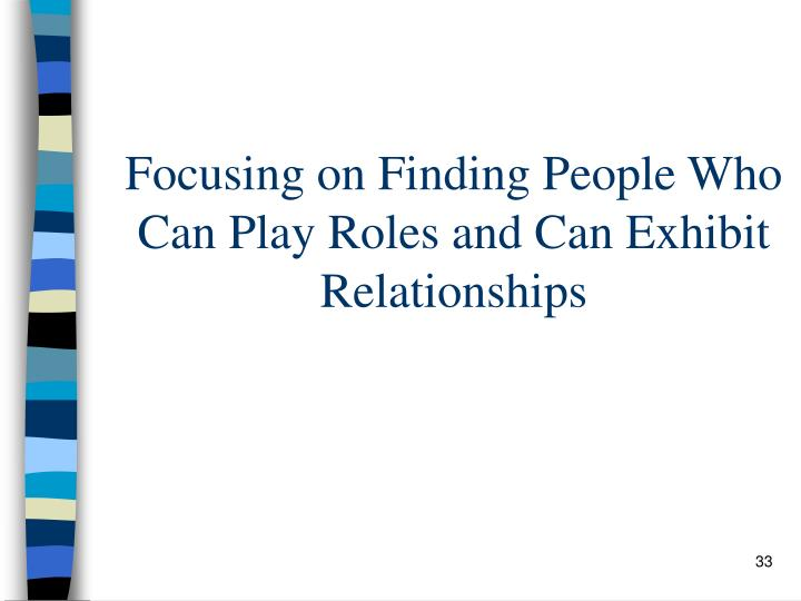 Focusing on Finding People Who Can Play Roles and Can Exhibit Relationships