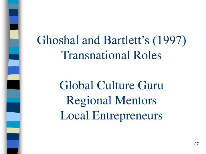 Ghoshal and Bartlett's (1997)  Transnational Roles
