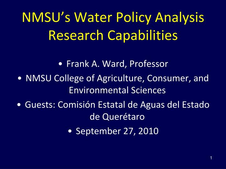 nmsu s water policy analysis research capabilities n.