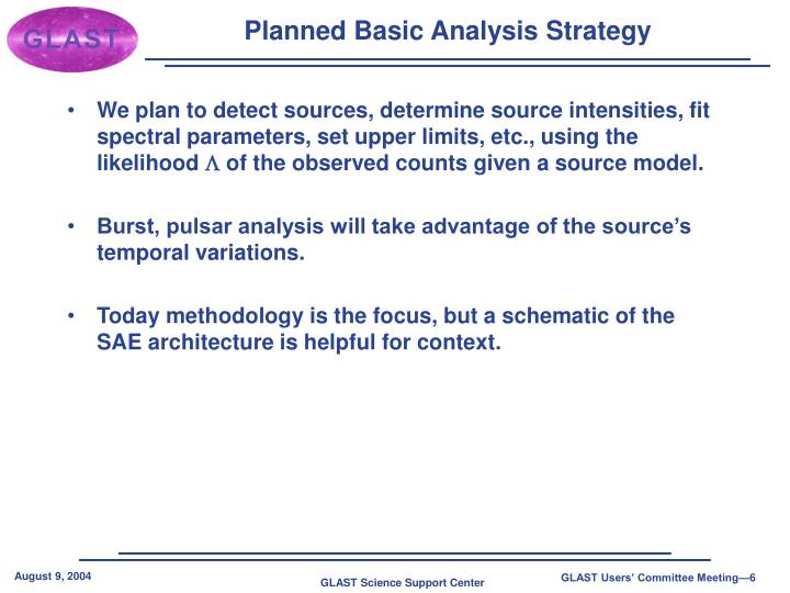 Planned Basic Analysis Strategy