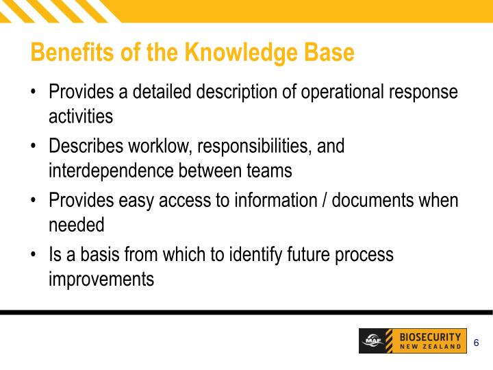 Benefits of the Knowledge Base