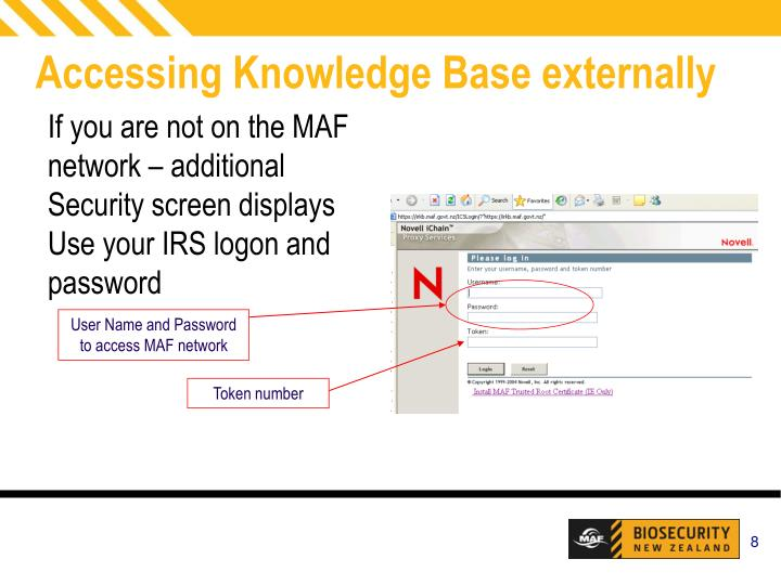 User Name and Password to access MAF network