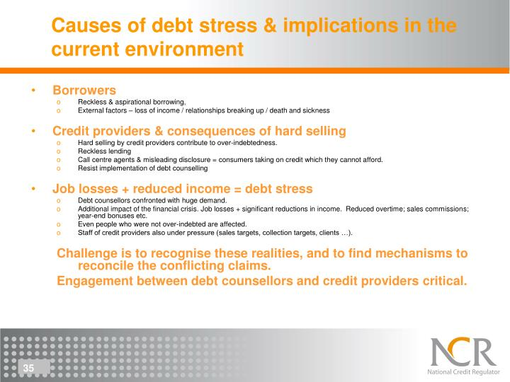 Causes of debt stress & implications in the current environment