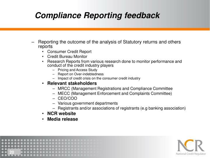 Compliance Reporting feedback
