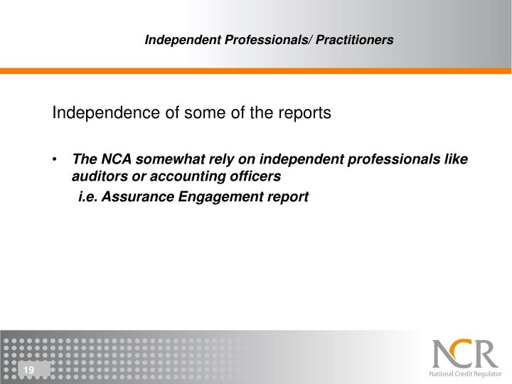 Independent Professionals/ Practitioners