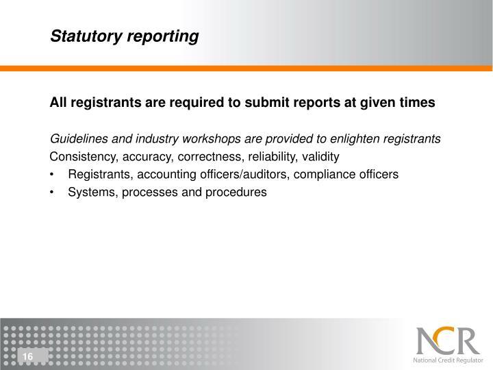 Statutory reporting