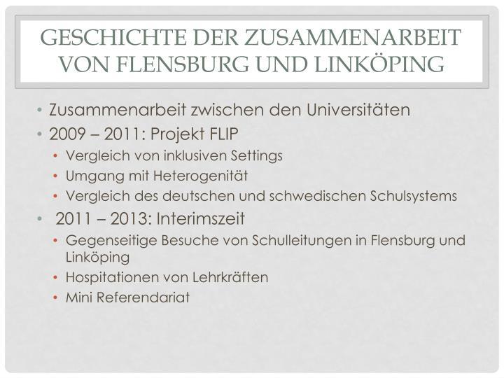Geschichte der zusammenarbeit von flensburg und link ping