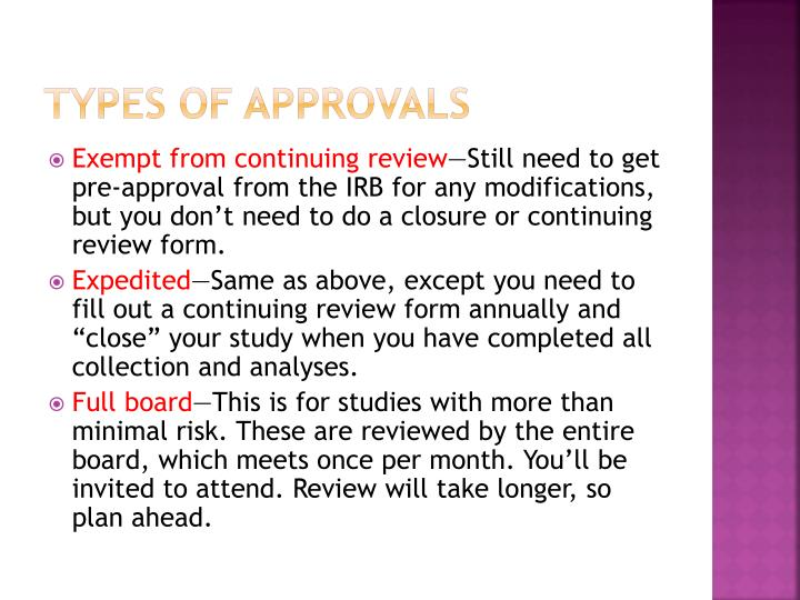 Types of approvals